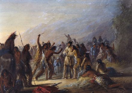 Miller, Alfred Jacob: Attack by Crow Indians. Fine Art Print/Poster. Sizes: A4/A3/A2/A1 (003821)